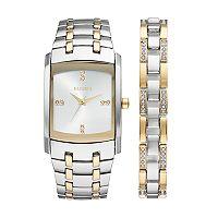 Elgin Men's Crystal Two Tone Watch & Bracelet Set