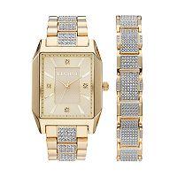 Elgin Men's Crystal Pave Watch & Bracelet Set