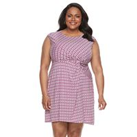 Plus Size Dana Buchman Printed Twist-Front Dress