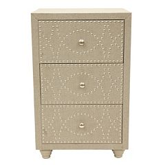 Decor Therapy Linen Nailhead Storage Chest  by