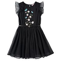 Girls 7-16 Three Pink Hearts Embroidered Flower Mesh Dress
