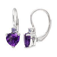Sterling Silver African Amethyst & Tanzanite Heart Drop Earrings