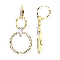 18k Gold Over Silver Lab-Created White Sapphire Hoop Drop Earrings