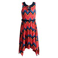 Girls 7-16 Emily West Lace-Up Front Handkerchief Hem Knit Dress