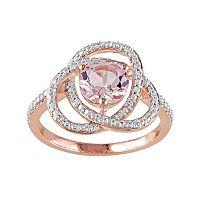 Sterling Silver Morganite & 1/10 Carat T.W. Diamond Swirl Ring