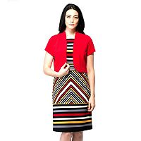 Women's ILE New York Striped Dress & Jacket Set