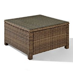 Bradenton Outdoor Wicker Sectional Glass Top Coffee Table by