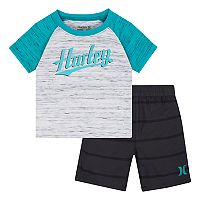 Baby Boy Hurley Raglan Logo Graphic Tee & Striped Shorts Set