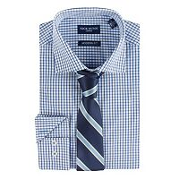 Men's Nick Dunn Modern-Fit Patterned Easy-Care Spread-Collar Dress Shirt & Tie Set