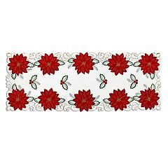 St. Nicholas Square Poinsettia Cutout Table Runner 36\ by