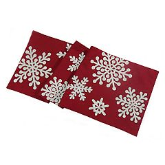 St. Nicholas Square Red Snowflake Table Runner 36\ by