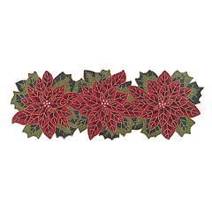 St. Nicholas Square Beaded Poinsettia Table Runner 36\ by