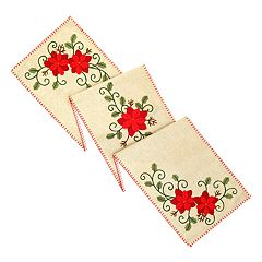 St. Nicholas Square 3D Poinsettia Table Runner 72\ by