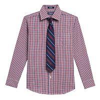 Boys 4-20 Chaps Plaid Shirt & Tie Set