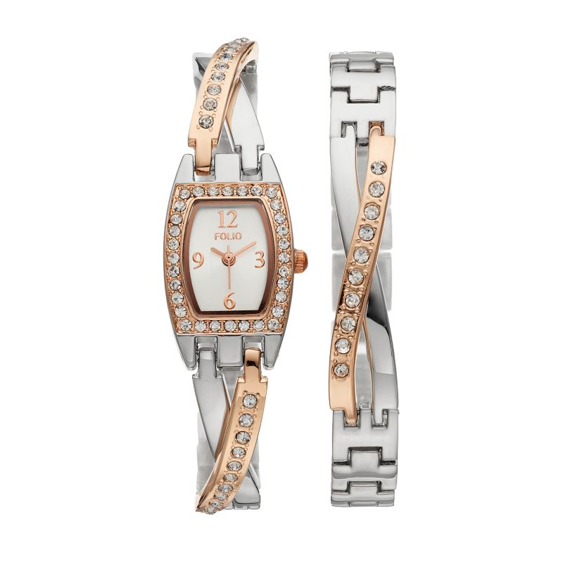 Folio Women's Crystal Half-Bangle Watch & Bracelet Set, multicolor thumbnail