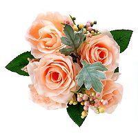 Darice Indoor / Outdoor 4-Stem Artificial Peach Rose Flower Arrangement