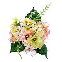 Darice Indoor / Outdoor 7-Stem Artificial Pink & Yellow Flower Arrangement