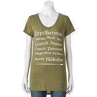 Juniors' Harry Potter Spells List Graphic Tee