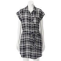 Juniors' Almost Famous Plaid Shirt Dress