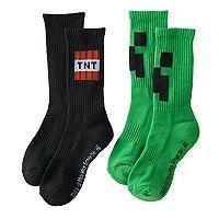 Boys 2-Pack Minecraft Creeper Crew Socks