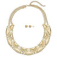 GS by gemma simone Geometric Necklace & Ball Stud Earring Set