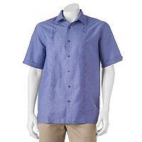 Men's Havanera Classic-Fit Embroidered Leaf Linen-Blend Button-Down Shirt
