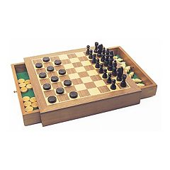 Deluxe Wooden Chess/Checkers/Draughts by House of Marbles  by
