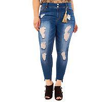 Juniors' Plus Size Wallflower Step Hem Ripped Skinny Jeans