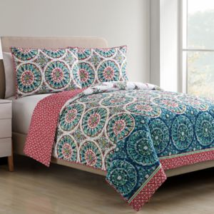 VCNY Zinnia Printed Medallion Quilt Set