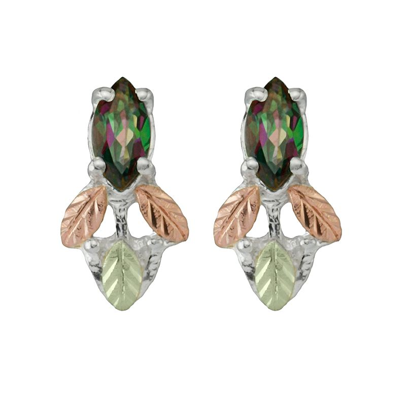 Black Hills Gold Tri-Tone Mystic Topaz Leaf Drop Earrings in Sterling Silver