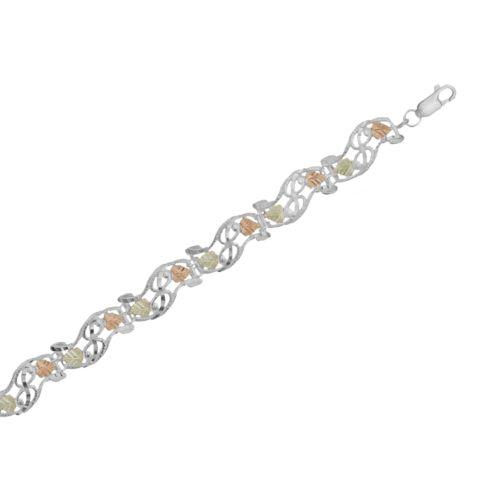 Black Hills Gold Tri-Tone Leaf Scrollwork Bracelet in Sterling Silver