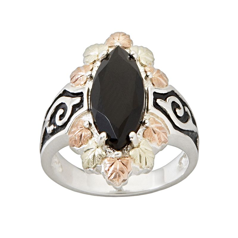 Black Hills Gold Tri-Tone Onyx Leaf Ring in Sterling Silver