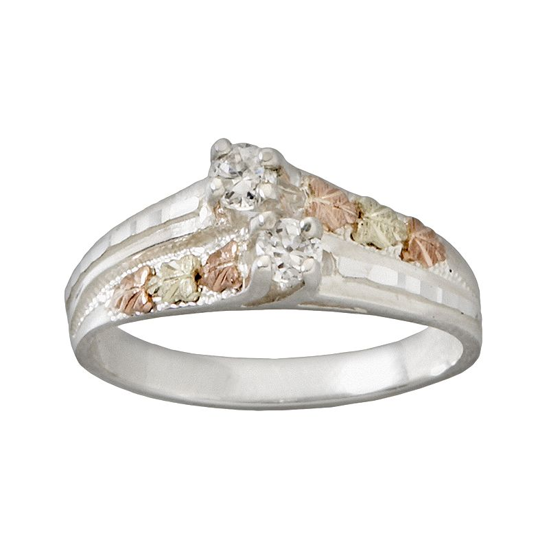 Black Hills Gold Tri-Tone Cubic Zirconia Leaf Ring in Sterling Silver