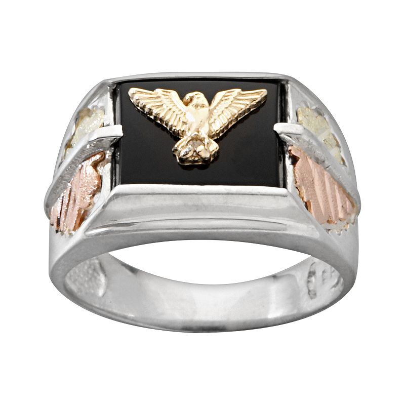 Black hills gold four tone onyx eagle ring in sterling for Kohls jewelry mens rings
