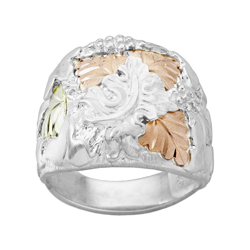 Black Hills Gold Tri-Tone Leaf Ring In Sterling Silver - Men