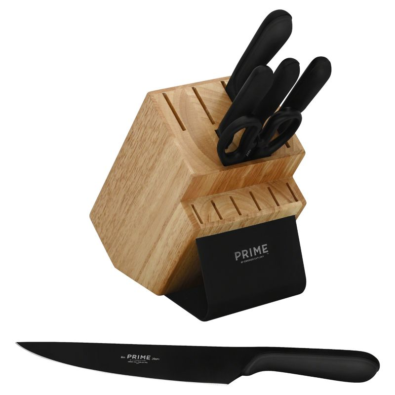 Prime by Chicago Cutlery Black Oxide 7-pc. Knife Block Set thumbnail
