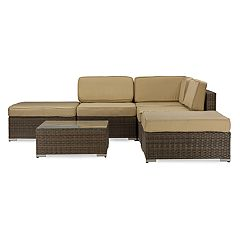 Baxton Studio Owen Patio Sectional Sofa & Coffee Table 6-piece Set  by
