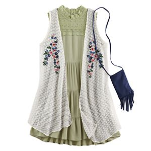 Girls 7-16 Knitworks Floral Embroidered Duster Vest & Lace Highneck Tiered Dress Set with Fringe Crossbody Cell Phone Purse