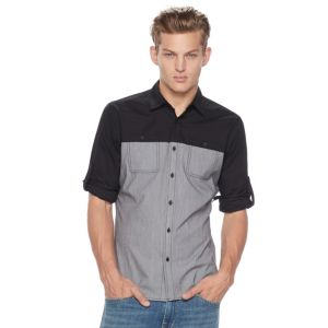 Big & Tall Rock & Republic Classic-Fit Colorblock Stretch Roll-Tab Button-Down Shirt