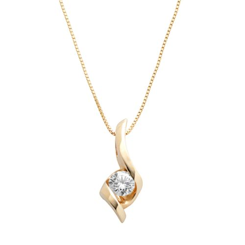 Sirena Collection 14k Gold 1/4-ct. T.W. Round-Cut Diamond Solitaire Swirl Pendant