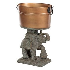 Bombay Outdoors Elephant Sculpture Decorative Storage Bucket Floor Decor  by