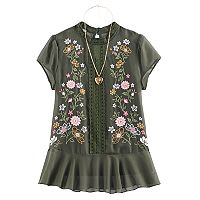 Girls 7-16 Miss Chievous Floral Embroidered Chiffon Top with Necklace