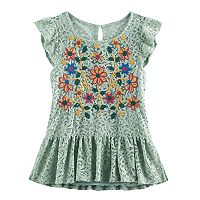 Girls 7-16 Miss Chievous Embroidered Lace Top