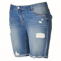 Juniors' Plus Size Mudd® Ripped & Frayed Jean Bermuda Shorts