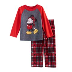 Disney's Mickey Mouse Toddler Top & Microfleece Bottoms Pajama Set by Jammies For Your Families by