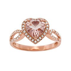 14k Rose Gold Over Silver Simulated Morganite & Lab-Created White Sapphire Heart Halo Ring