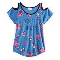 Girls 7-16 Self Esteem Marled Cold Shoulder Top
