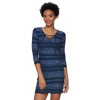 Juniors' Mudd® Lace-Up V-Neck Bodycon Dress