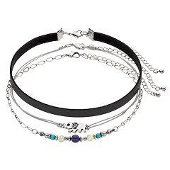 Mudd Elephant, Beaded & Faux Leather Choker Necklace Set