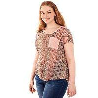Juniors' Plus Size Wallflower Print Contrast Pocket Tee